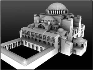 The reconstruction of St. Sophia, Constantinople, is from www.byzantium1200.com
