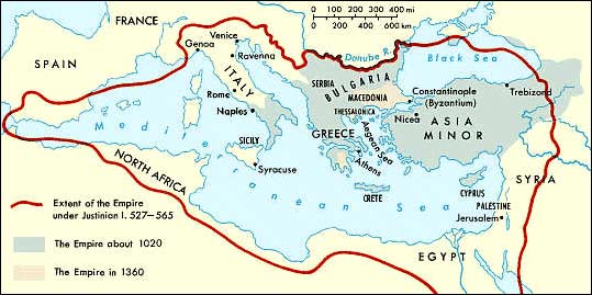 Map of the Byzantium Empire from 527 - 1360 AD